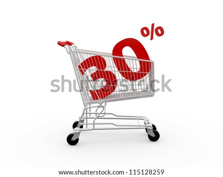 Shopping cart and red thirty percentage discount, isolated on white background. - stock photo