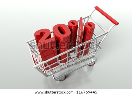 Shopping cart and red twenty percent discount, sale concept - stock photo