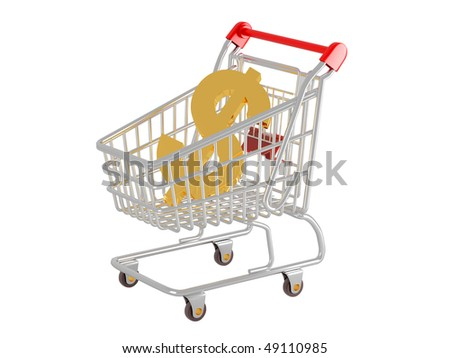 Shopping cart and sign dollar.