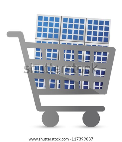shopping cart and solar panel illustration design