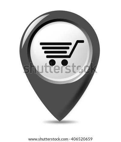 Shopping cart, basket icon in pointer button.