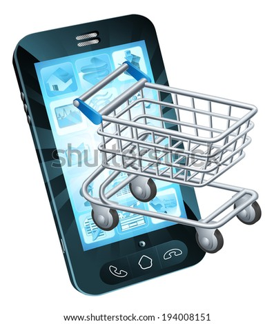 Shopping cart cell phone concept of a mobile phone with a shopping trolley coming out - stock photo
