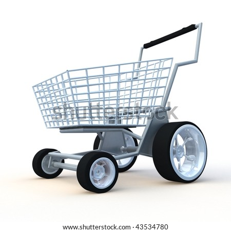 Shopping cart. 3d illustration isolated on white background. - stock photo