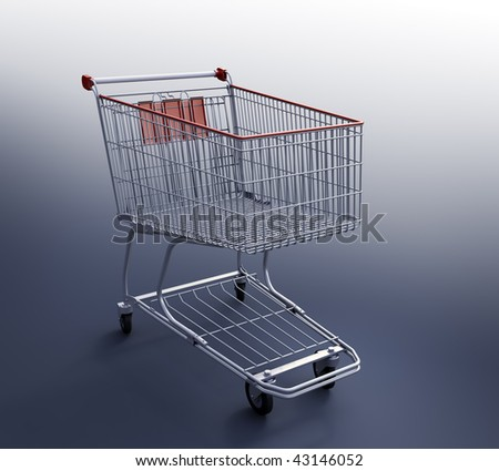 Shopping Cart 3d render - stock photo