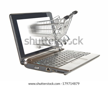 Shopping cart driving in the screen on a laptop computer