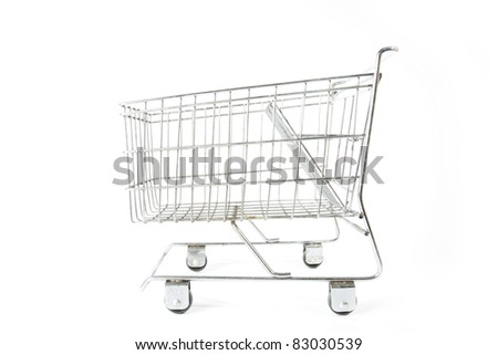 shopping cart, empty silver metal model of shopping cart. - stock photo