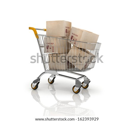 Shopping cart filled boxes, 3d - stock photo