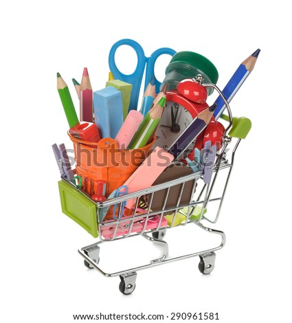 Shopping cart filled with colorful school supplies, isolated on white background - stock photo