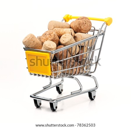 Shopping Cart Filled with Corks, Isolated On White Background - stock photo