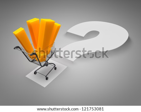 shopping cart filling of exclamation marks - stock photo