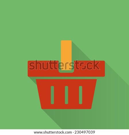 Shopping cart. Flat icon. Raster version - stock photo