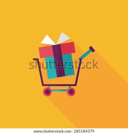 shopping cart flat icon with long shadow - stock photo