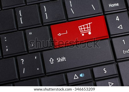 shopping cart for online shopping concepts - stock photo