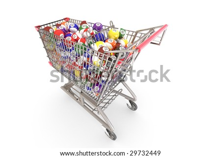 Shopping cart full of colorful discount balls. Hi-res digitally generated image.