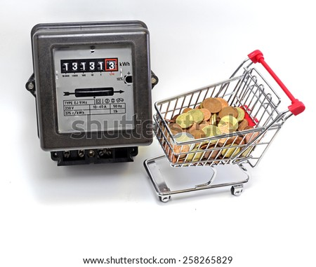 shopping cart full of European currencies and the meter of the family consumption - stock photo