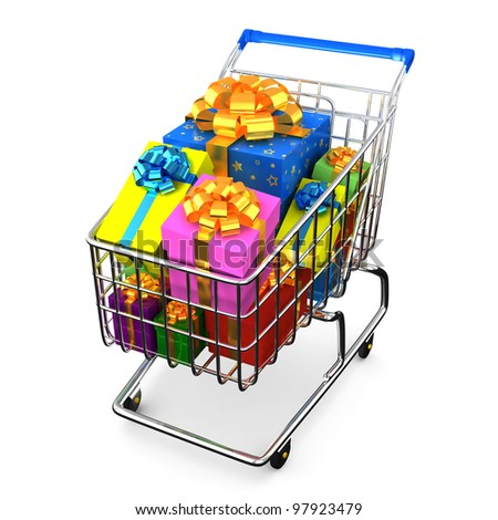 Shopping cart full of gifts on white background with shadow