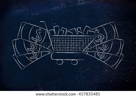 shopping cart full of products with oversize cash surrounding it, concept of consumerism or highly profitable marketing campaigns that sell well