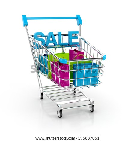Shopping cart full of shopping bags and sale labels. Discount concept. 3d illustration isolated on white