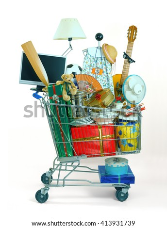 shopping cart full of things  - stock photo