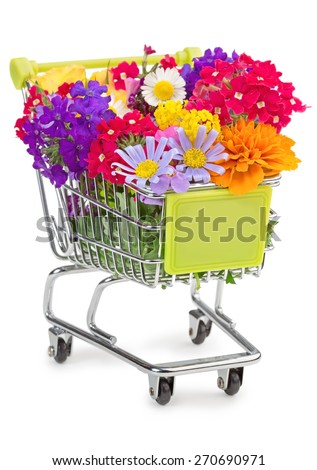 shopping cart full of wildflowers isolated on white - stock photo