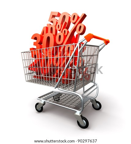 Shopping cart full percentage of discount - stock photo