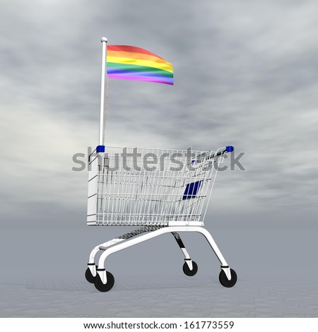 Shopping cart holding gay flag to symbolize homosexual people commerce into grey cloudy background - stock photo