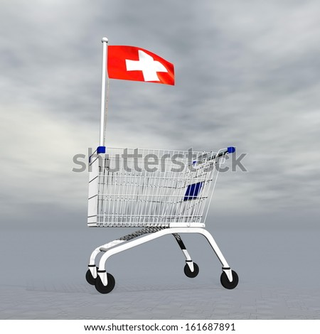 Shopping cart holding swiss flag to symbolize commerce in Switzerland into grey cloudy background - stock photo