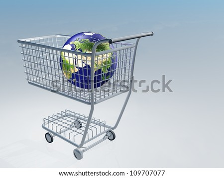 Shopping cart holds earth Images used to create this image were furnished by NASA