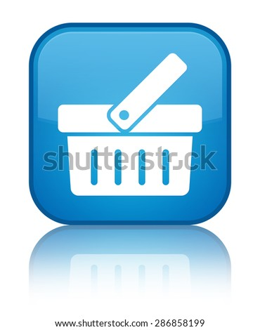 Shopping cart icon cyan blue square button - stock photo