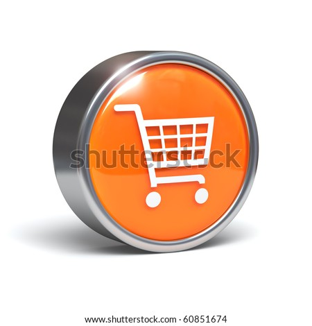 Shopping cart icon - 3D button with clipping path - stock photo