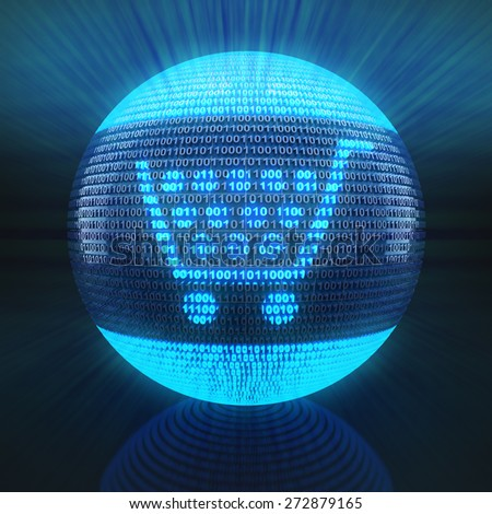 Shopping cart icon on globe formed by binary code, 3d render - stock photo