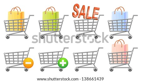 Shopping-cart icon set. Raster version, vector file also included in the portfolio. - stock photo