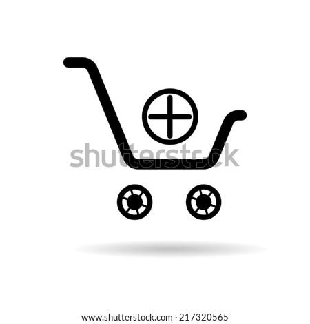 shopping cart icon, shopping basket design, trolley - stock photo
