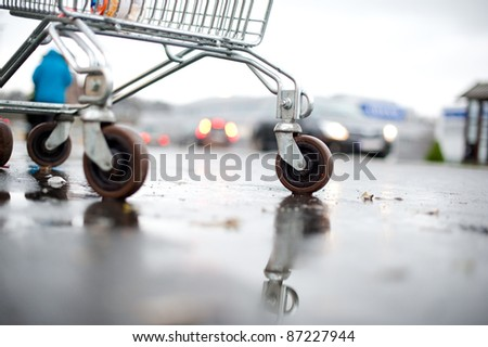 Shopping cart in outside - stock photo