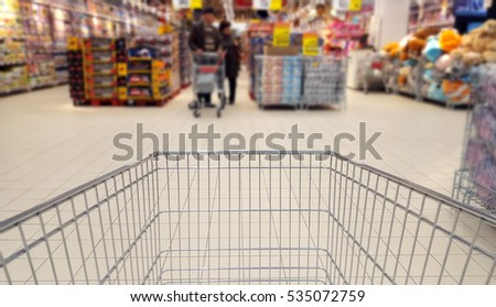 shopping cart inside supermarket, abstract blur background