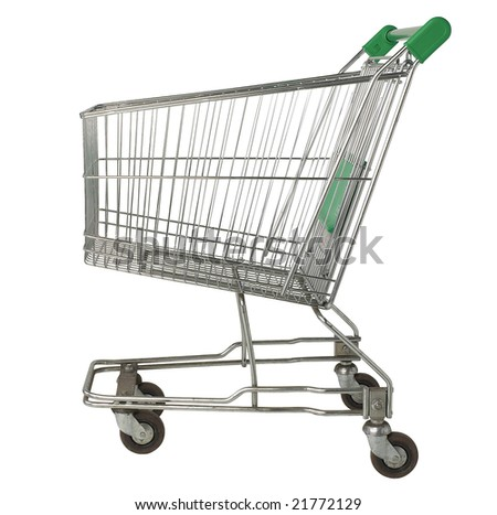 Shopping Cart - isolated on white - stock photo