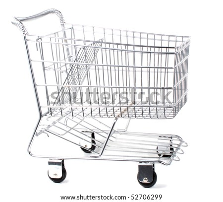 Shopping cart isolated on white - stock photo