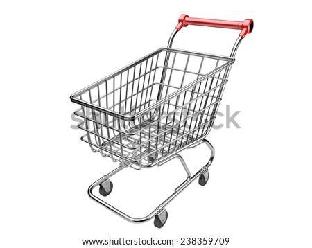 Shopping cart isolated on white background. 3d illustration. - stock photo