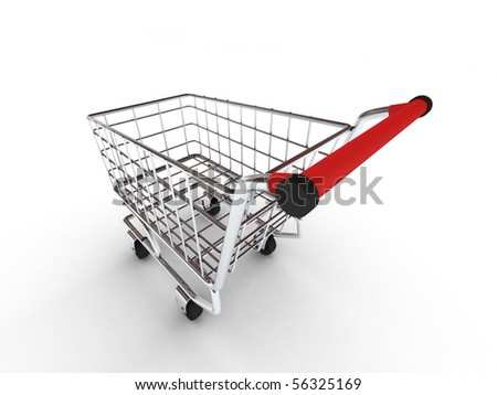 Shopping cart isolated on white background. High quality 3d render. - stock photo