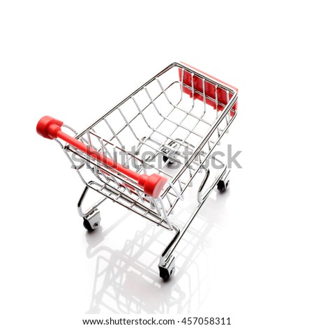 Shopping cart isolated on white, business conceptual - stock photo