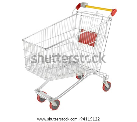 Shopping cart isolated on white, outline clipping path included - stock photo