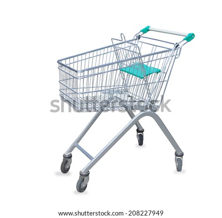 Shopping cart isolated over white - stock photo