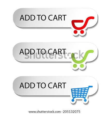 shopping cart item - add buttons, symbol of shopping trolley - stock photo