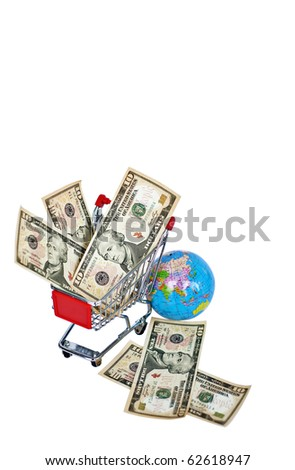 Shopping Cart loaded with a lot of money - stock photo