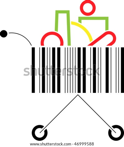 Shopping cart made up of a bar code pattern - stock photo
