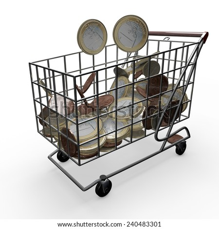Shopping Cart, Money euro, supermarket promotions - stock photo