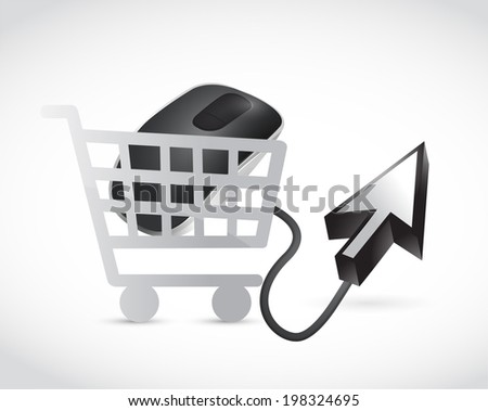 shopping cart mouse and cursor illustration design over a white background - stock photo