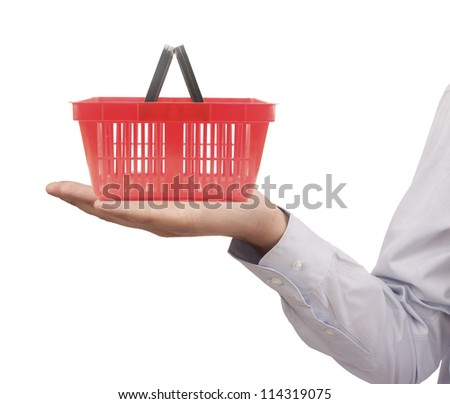 Shopping cart on a palm isolated - stock photo