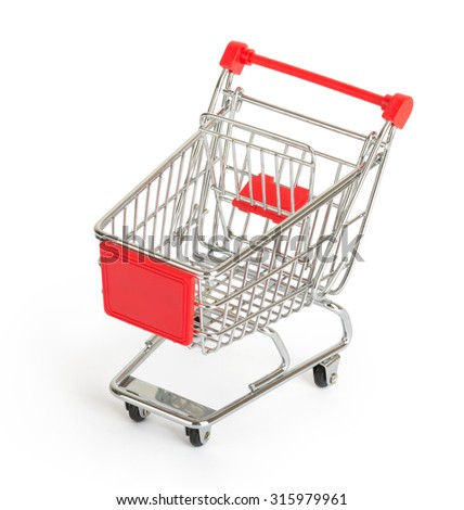 Shopping cart on isolated white background, top view