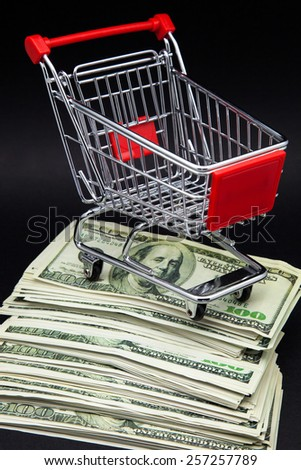 shopping cart on pile of banknotes - stock photo